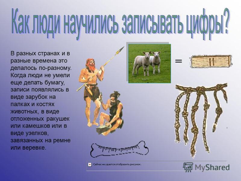 В разных странах и в разные времена это делалось по-разному. Когда люди не умели еще делать бумагу, записи появлялись в виде зарубок на палках и костях животных, в виде отложенных ракушек или камешков или в виде узелков, завязанных на ремне или верев