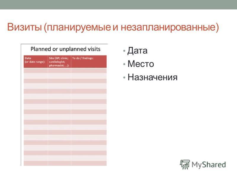 Визиты (планируемые и незапланированные) Дата Место Назначения