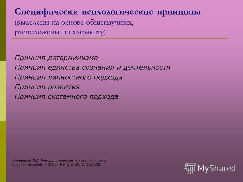Специфически психологические принципы (выделены на основе общенаучных, расположены по алфавиту) Принцип детерминизма Принцип единства сознания и деятельности Принцип личностного подхода Принцип развития Принцип системного подхода Никандров В.В. Метод