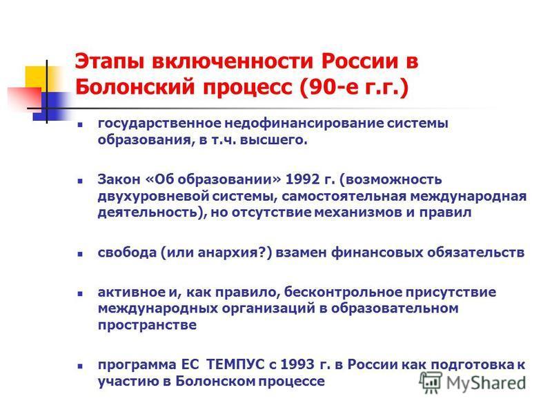 Этапы включенности России в Болонский процесс (90-е г.г.) государственное недофинансирование системы образования, в т.ч. высшего. Закон «Об образовании» 1992 г. (возможность двухуровневой системы, самостоятельная международная деятельность), но отсут