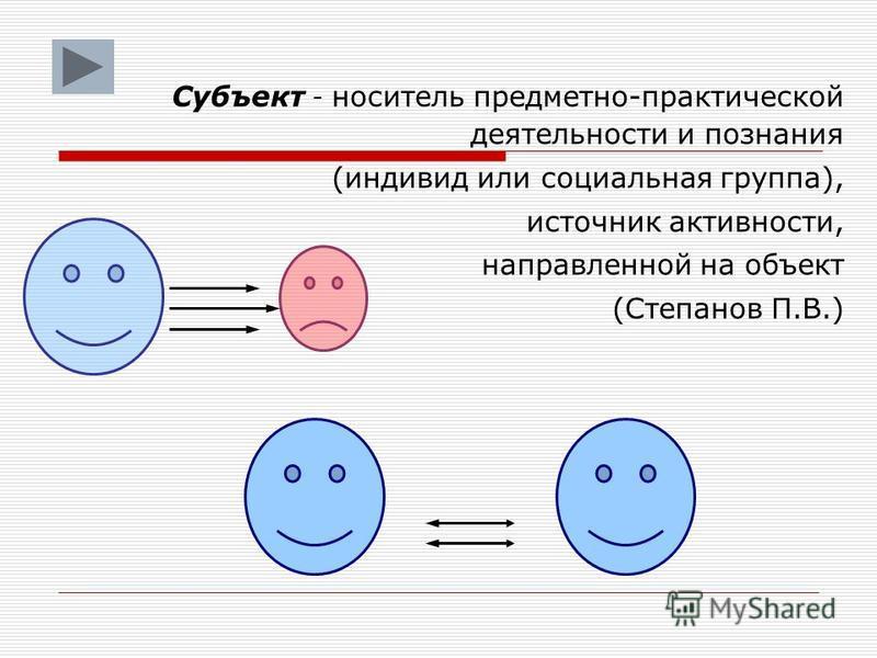 Субъект - носитель предметно-практической деятельности и познания (индивид или социальная группа), источник активности, направленной на объект (Степанов П.В.)