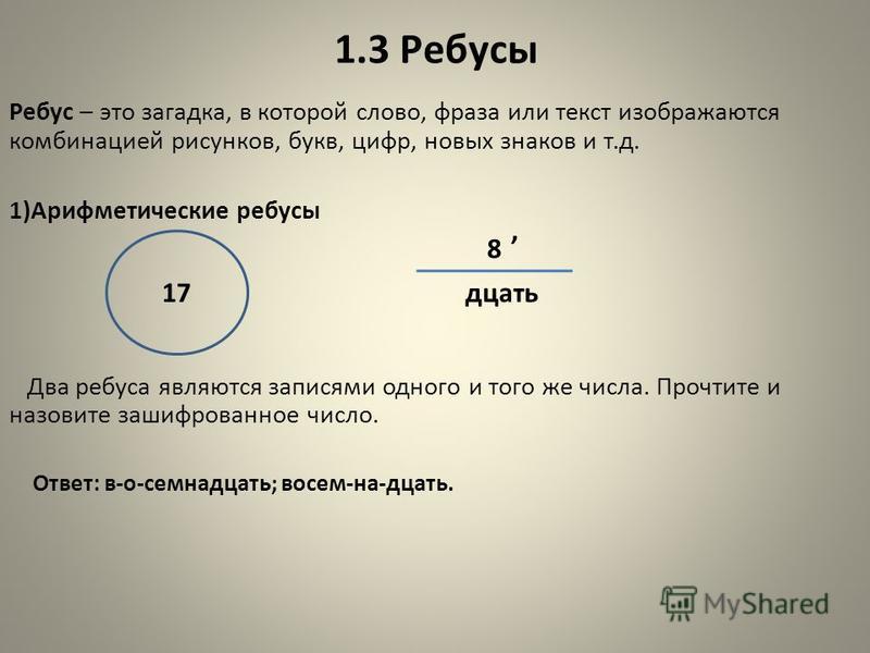 1.3 Ребусы Ребус – это загадка, в которой слово, фраза или текст изображаются комбинацией рисунков, букв, цифр, новых знаков и т.д. 1)Арифметические ребусы Два ребуса являются записями одного и того же числа. Прочтите и назовите зашифрованное число.