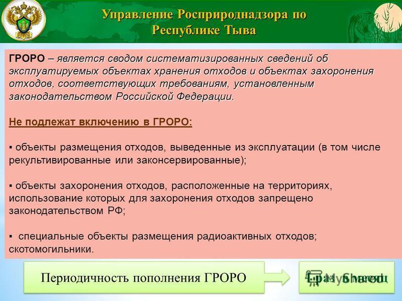 – является сводом систематизированных сведений об эксплуатируемых объектах хранения отходов и объектах захоронения отходов, соответствующих требованиям, установленным законодательством Российской Федерации. ГРОРО – является сводом систематизированных
