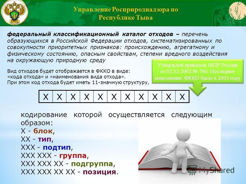 Вид отходов будет отображается в ФККО в виде: «кода отхода» и «наименования вида отхода». При этом код отхода будет иметь 11-значную структуру, ХХХХХХХХХХХ кодирование которой осуществляется следующим образом: Х - блок, ХХ - тип, ХХХ - подтип, ХХХ ХХ