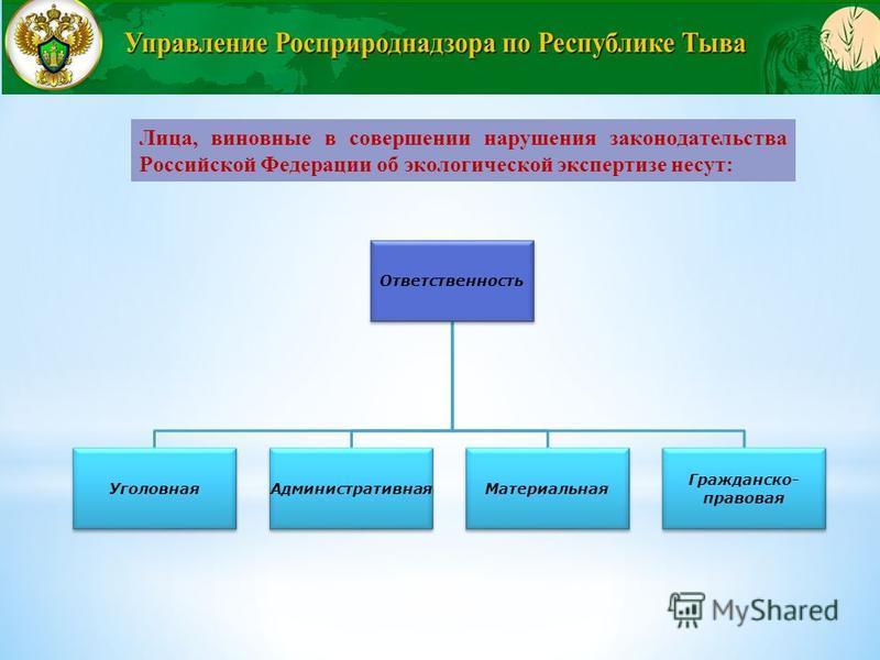 Лица, виновные в совершении нарушения законодательства Российской Федерации об экологической экспертизе несут: Ответственность Уголовная АдминистративнаяМатериальная Гражданско- правовая