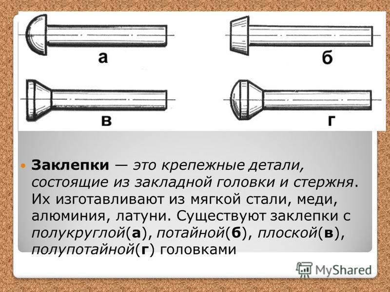 Заклепки это крепежные детали, состоящие из закладной головки и стержня. Их изготавливают из мягкой стали, меди, алюминия, латуни. Существуют заклепки с полукруглой(а), потайной(б), плоской(в), полупотайной(г) головками
