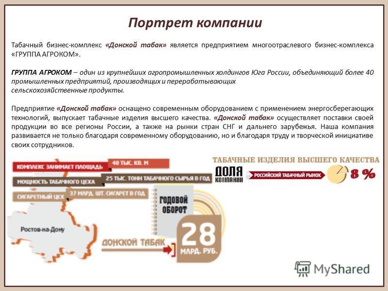 Портрет компании Табачный бизнес-комплекс «Донской табак» является предприятием многоотраслевого бизнес-комплекса «ГРУППА АГРОКОМ». ГРУППА АГРОКОМ – один из крупнейших агропромышленных холдингов Юга России, объединяющий более 40 промышленных предприя