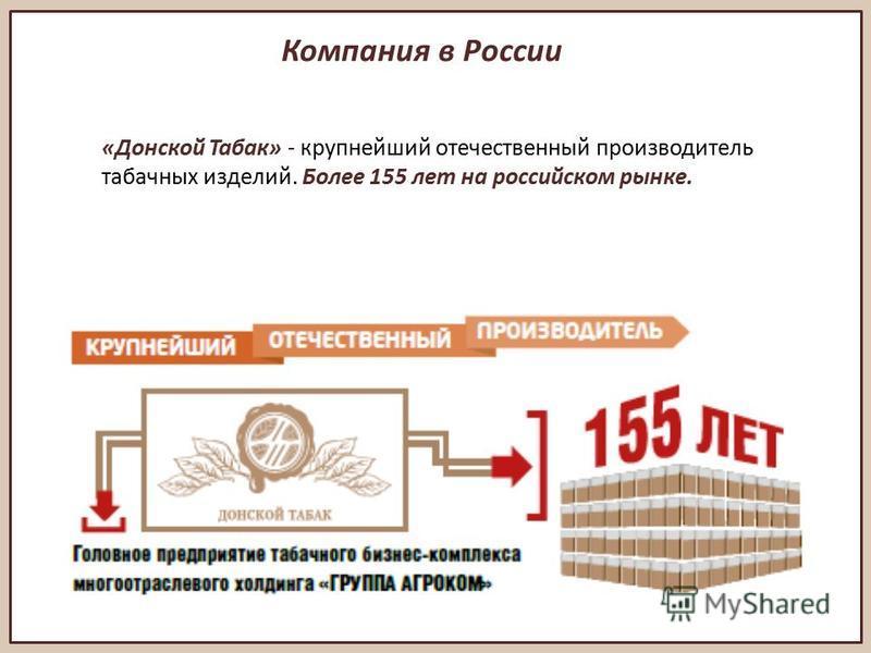 Компания в России «Донской Табак» - крупнейший отечественный производитель табачных изделий. Более 155 лет на российском рынке.