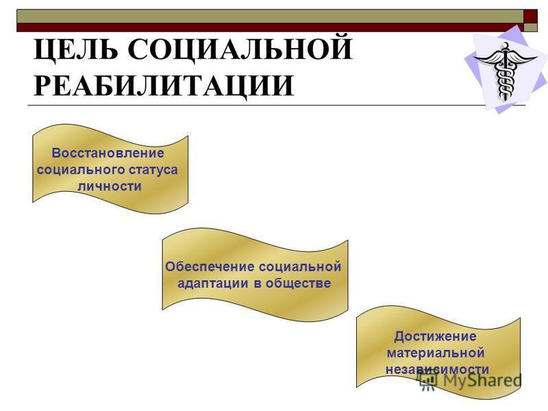 ЦЕЛЬ СОЦИАЛЬНОЙ РЕАБИЛИТАЦИИ Восстановление социального статуса личности Обеспечение социальной адаптации в обществе Достижение материальной независимости