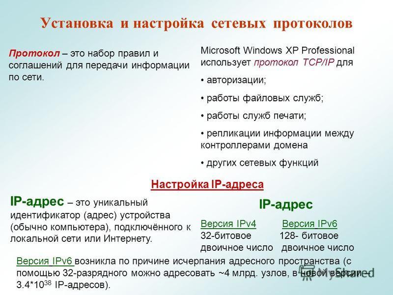 Установка и настройка сетевых протоколлов Протокол – это набор правил и соглашений для передачи информации по сети. Microsoft Windows XP Professional использует протоколл TCP/IP для авторизации; работы файловых служб; работы служб печати; репликации