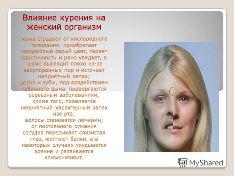Влияние курения на женский организм кожа страдает от кислородного голодания, приобретает нездоровый серый цвет, теряет эластичность и рано увядает, а также выглядит плохо из-за закупоренных пор и источает неприятный запах; десна и зубы, под воздейств