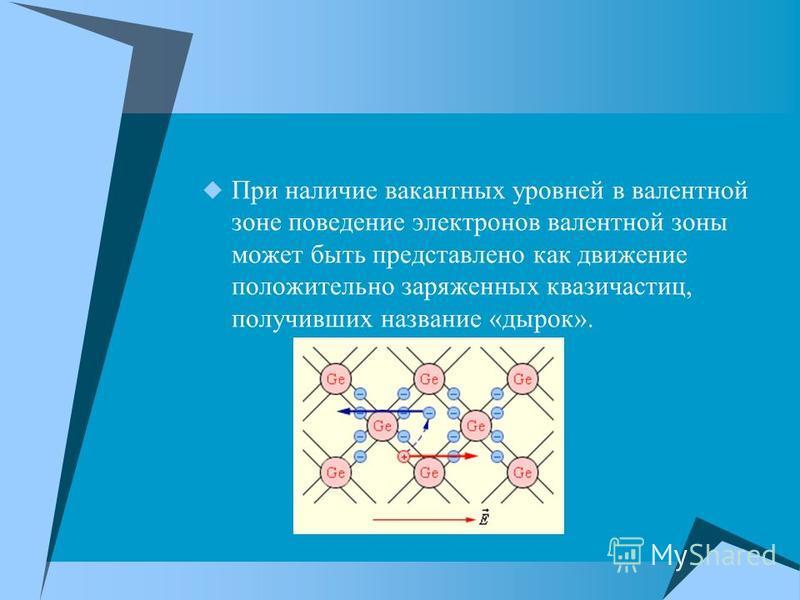 При наличие вакантных уровней в валентной зоне поведение электронов валентной зоны может быть представлено как движение положительно заряженных квазичастиц, получивших название «дырок».