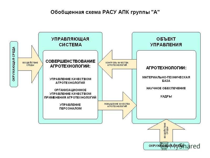 Обобщенная схема РАСУ АПК группы А