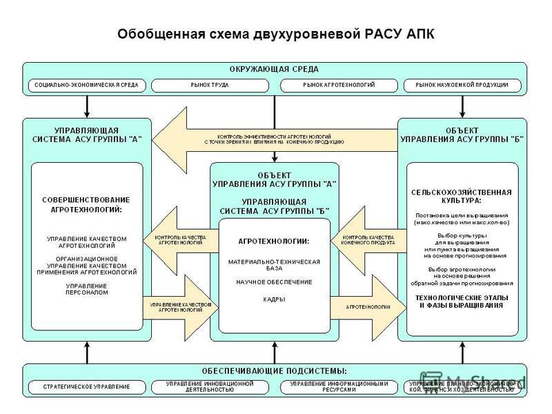 Обобщенная схема двухуровневой РАСУ АПК