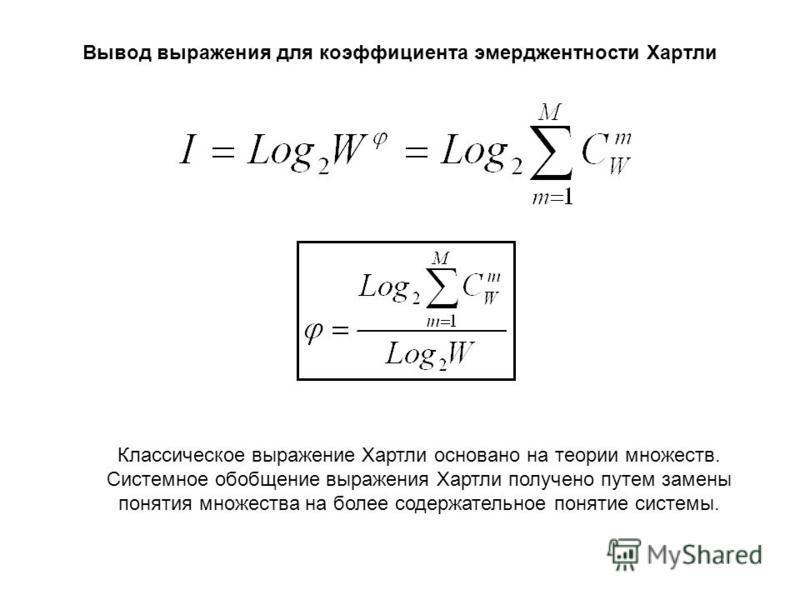 Вывод выражения для коэффициента эмерджентности Хартли Классическое выражение Хартли основано на теории множеств. Системное обобщение выражения Хартли получено путем замены понятия множества на более содержательное понятие системы.