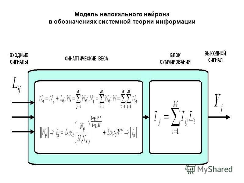 Модель нелокального нейрона в обозначениях системной теории информации