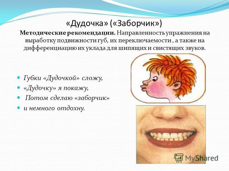 «Дудочка» («Заборчик») Методические рекомендации. Направленность упражнения на выработку подвижности губ, их переключаемости, а также на дифференциацию их уклада для шипящих и свистящих звуков. Губки «Дудочкой» сложу, «Дудочку» я покажу, Потом сделаю