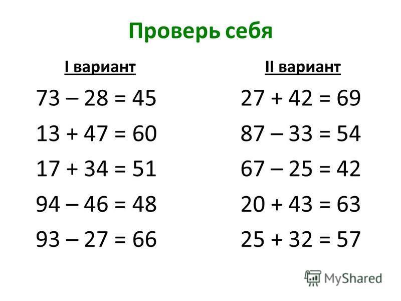 Проверь себя I вариант II вариант 73 – 28 = 45 27 + 42 = 69 13 + 47 = 60 87 – 33 = 54 17 + 34 = 51 67 – 25 = 42 94 – 46 = 48 20 + 43 = 63 93 – 27 = 66 25 + 32 = 57