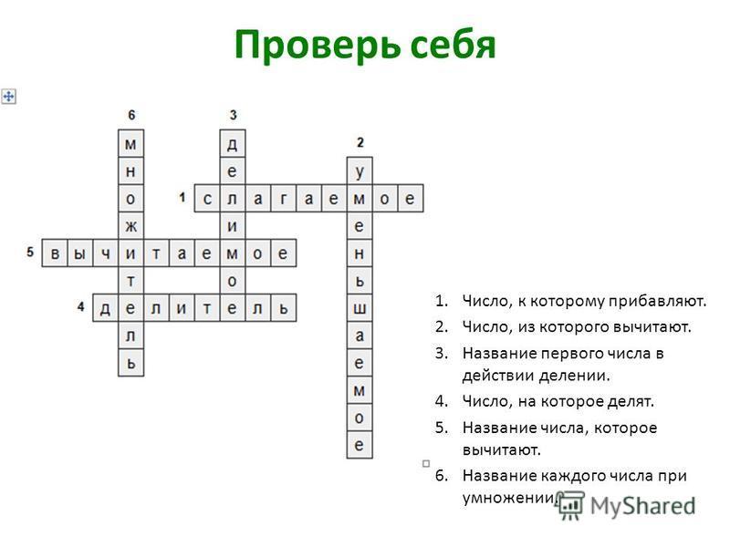 Проверь себя 1.Число, к которому прибавляют. 2.Число, из которого вычитают. 3. Название первого числа в действии делении. 4.Число, на которое делят. 5. Название числа, которое вычитают. 6. Название каждого числа при умножении.