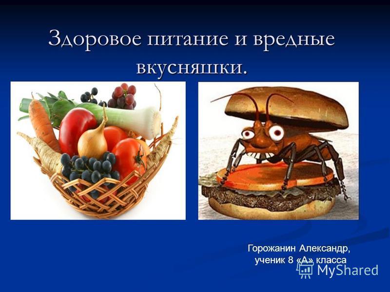 Здоровое питание и вредные вкусняшки. Горожанин Александр, ученик 8 «А» класса