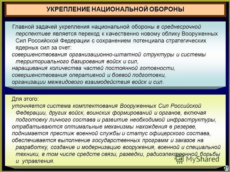 21 Главной задачей укрепления национальной обороны в среднесрочной перспективе является переход к качественно новому облику Вооруженных Сил Российской Федерации с сохранением потенциала стратегических ядерных сил за счет: совершенствования организаци