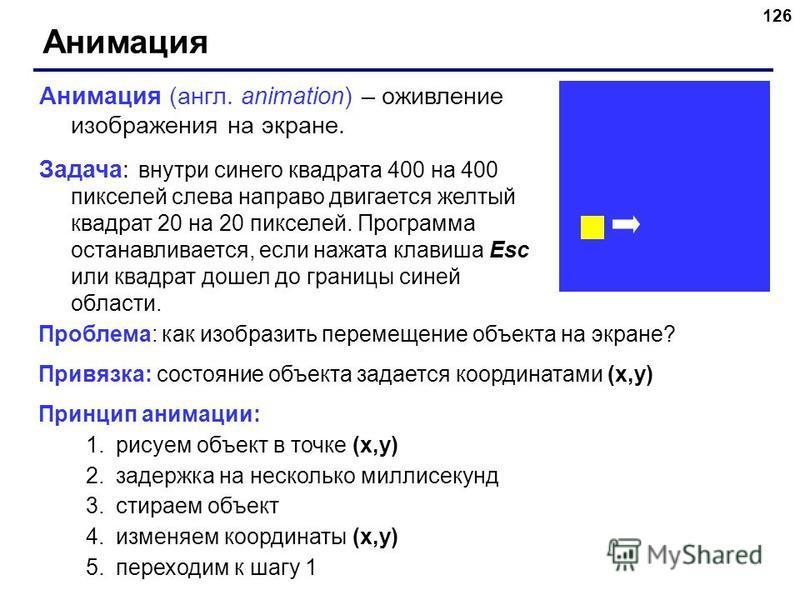 126 Анимация Анимация (англ. animation) – оживление изображения на экране. Задача: внутри синего квадрата 400 на 400 пикселей слева направо двигается желтый квадрат 20 на 20 пикселей. Программа останавливается, если нажата клавиша Esc или квадрат дош