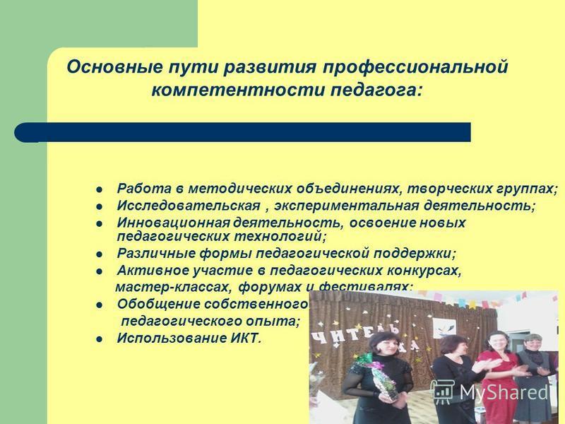 Работа в методических объединениях, творческих группах; Исследовательская, экспериментальная деятельность; Инновационная деятельность, освоение новых педагогических технологий; Различные формы педагогической поддержки; Активное участие в педагогическ