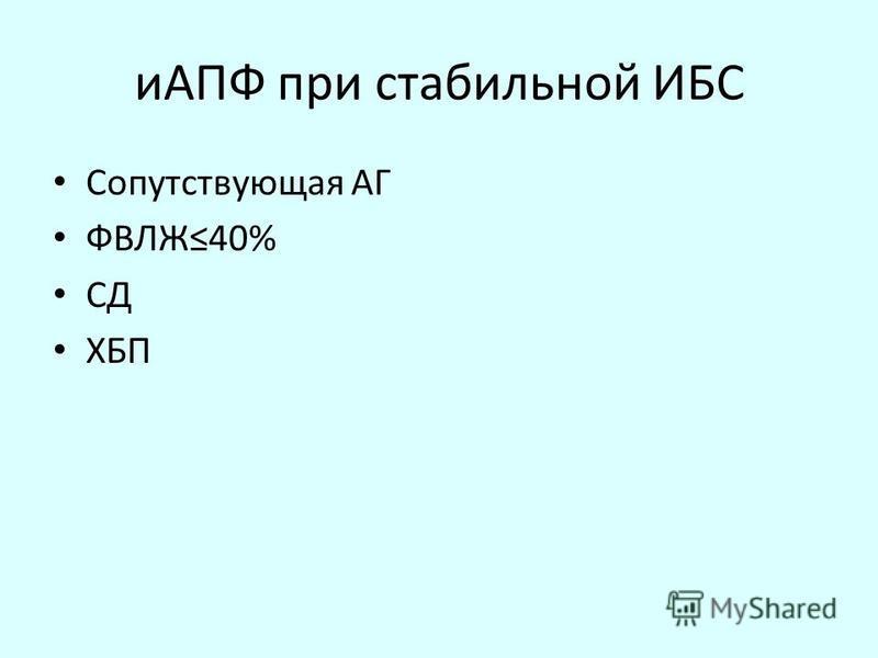 иАПФ при стабильной ИБС Сопутствующая АГ ФВЛЖ40% СД ХБП