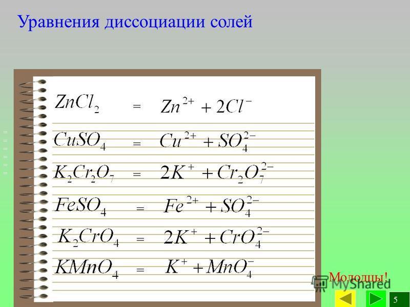 5 Уравнения диссоциации солей Молодцы! ============ = = = = = =