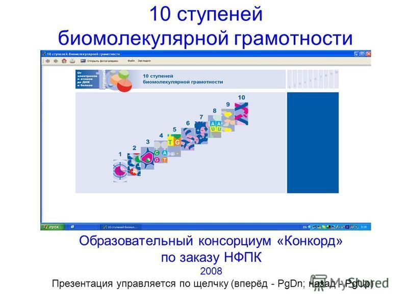 10 ступеней бимолекулярной грамотности Образовательный консорциум «Конкорд» по заказу НФПК 2008 Презентация управляется по щелчку (вперёд - PgDn; назад - PgUp)