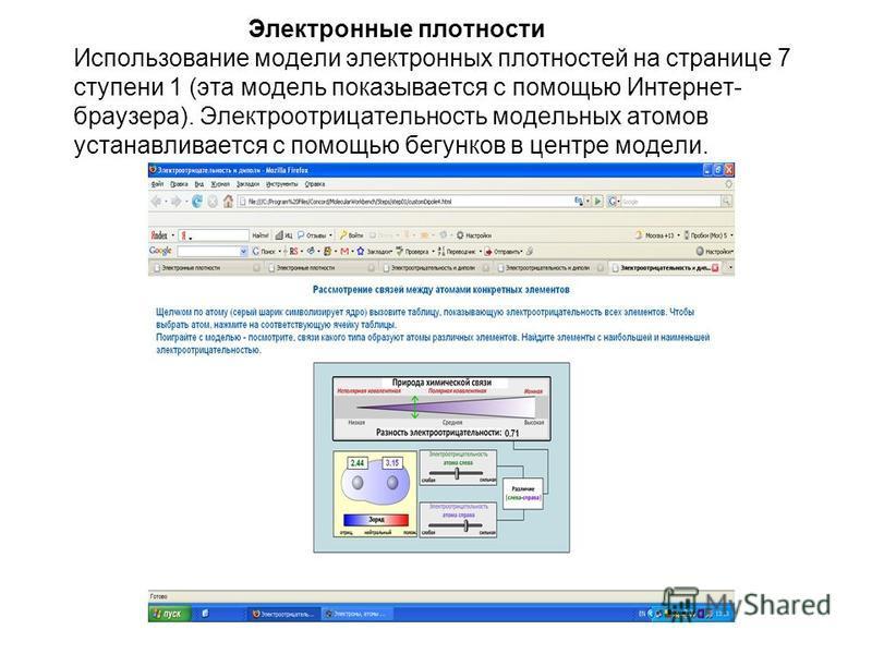 Электронные плотности Использование модели электронных плотностей на странице 7 ступени 1 (эта модель показывается с помощью Интернет- браузера). Электроотрицательность модельных атомов устанавливается с помощью бегунков в центре модели.