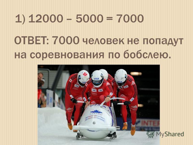 1) 12000 – 5000 = 7000 ОТВЕТ: 7000 человек не попадут на соревнования по бобслею.