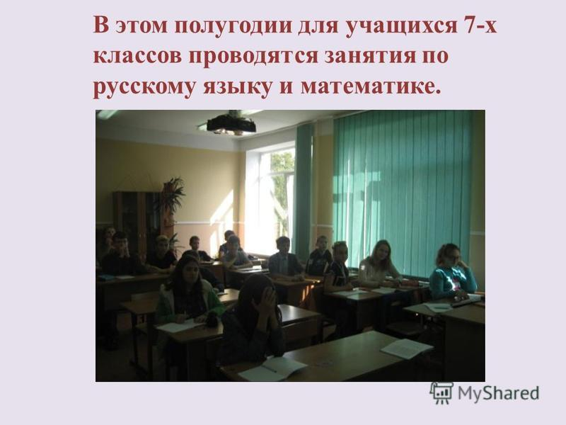 В этом полугодии для учащихся 7-х классов проводятся занятия по русскому языку и математике.