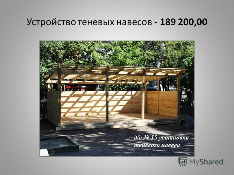 Устройство теневых навесов - 189 200,00