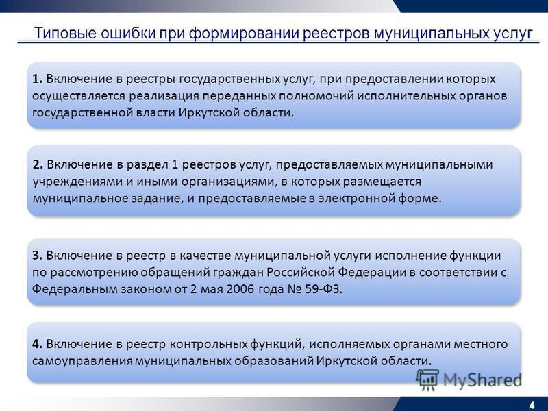 4 Типовые ошибки при формировании реестров муниципальных услуг 1. Включение в реестры государственных услуг, при предоставлении которых осуществляется реализация переданных полномочий исполнительных органов государственной власти Иркутской области. 4