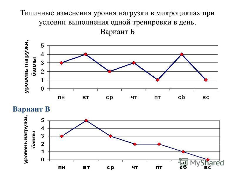 Типичные изменения уровня нагрузки в микроциклах при условии выполнения одной тренировки в день. Вариант Б Вариант В