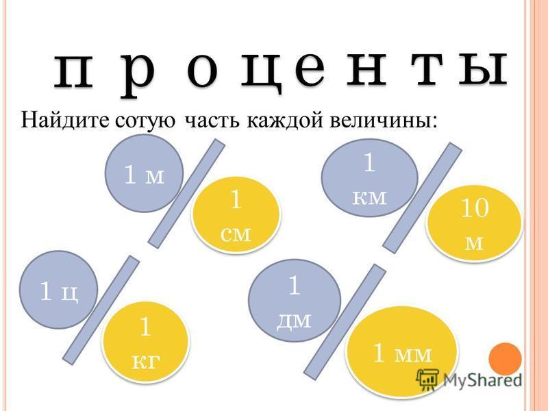 п п р р о о ц ц е е н н т т ы ы Найдите сотую часть каждой величины: 1 м 1 см 1 км 10 м 1 ц 1 кг 1 дм 1 мм