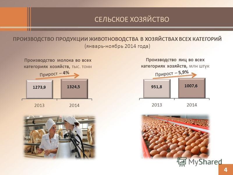 СЕЛЬСКОЕ ХОЗЯЙСТВО ПРОИЗВОДСТВО ПРОДУКЦИИ ЖИВОТНОВОДСТВА В ХОЗЯЙСТВАХ ВСЕХ КАТЕГОРИЙ (январь-ноябрь 2014 года) 4 Производство молока во всех категориях хозяйств, тыс. тонн Производство яиц во всех категориях хозяйств, млн штук