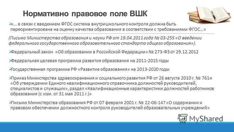 Нормативно правовое поле ВШК «… в связи с введением ФГОС система внутришкольного контроля должна быть переориентирована на оценку качества образования в соответствии с требованиями ФГОС…» (Письмо Министерства образования и науки РФ от 19.04.2011 года