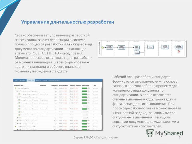 Сервис обеспечивает управление разработкой на всех этапах за счет реализации в системе полных процессов разработки для каждого вида документа по стандартизации – в настоящее время это ГОСТ, ГОСТ Р, СТО и свод правил. Модели процессов охватывают цикл