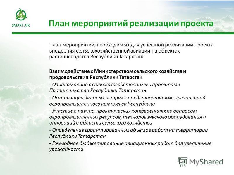 План мероприятий реализации проекта План мероприятий, необходимых для успешной реализации проекта внедрения сельскохозяйственной авиации на объектах растениеводства Республики Татарстан: Взаимодействие с Министерством сельского хозяйства и продовольс