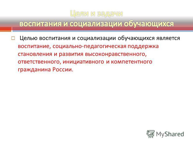 Целью воспитания и социализации обучающихся является воспитание, социально - педагогическая поддержка становления и развития высоконравственного, ответственного, инициативного и компетентного гражданина России.