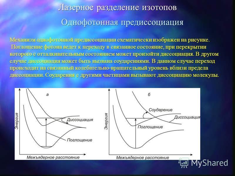 Лазерное разделение изотопов Инициируемые лазером реакции Разделение изотопов может произойти в том случае, если скорость реакции возбужденных атомов или молекул с определенным реагентом превышает скорость реакции атомов или молекул, находящихся в ос