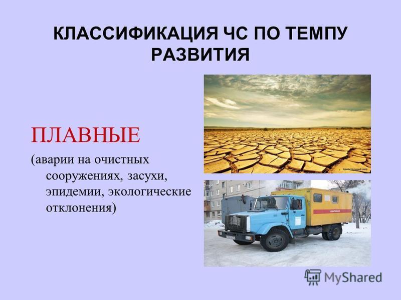 КЛАССИФИКАЦИЯ ЧС ПО ТЕМПУ РАЗВИТИЯ ПЛАВНЫЕ (аварии на очистных сооружениях, засухи, эпидемии, экологические отклонения)