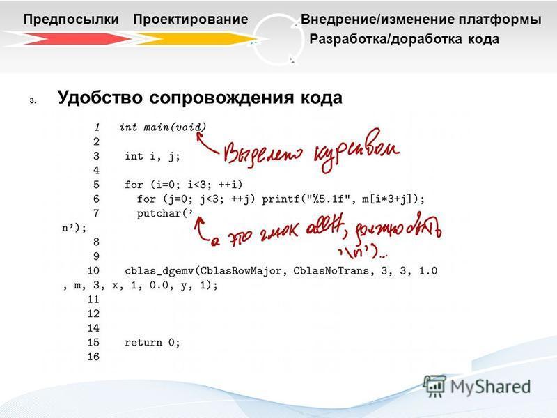 Разработка/доработка кода Предпосылки ПроектированиеВнедрение/изменение платформы 3. Удобство сопровождения кода