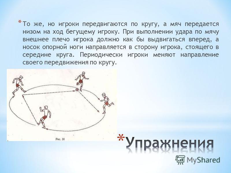 * То же, но игроки передвигаются по кругу, а мяч передается низом на ход бегущему игроку. При выполнении удара по мячу внешнее плечо игрока должно как бы выдвигаться вперед, а носок опорной ноги направляется в сторону игрока, стоящего в середине круг