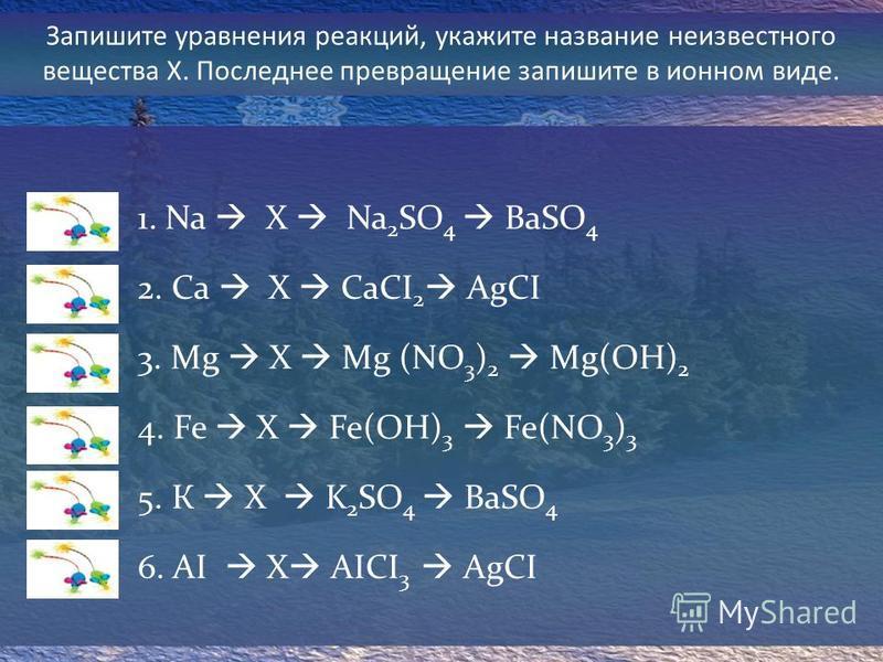 Запишите уравнения реакций, укажите название неизвестного вещества Х. Последнее превращение запишите в ионном виде. 1. Na X Na 2 SO 4 BaSO 4 2. Са X CаCI 2 AgCI 3. Мg X Mg (NO 3 ) 2 Mg(OH) 2 4. Fe X Fe(OH) 3 Fe(NO 3 ) 3 5. К X K 2 SO 4 BaSO 4 6. AI X