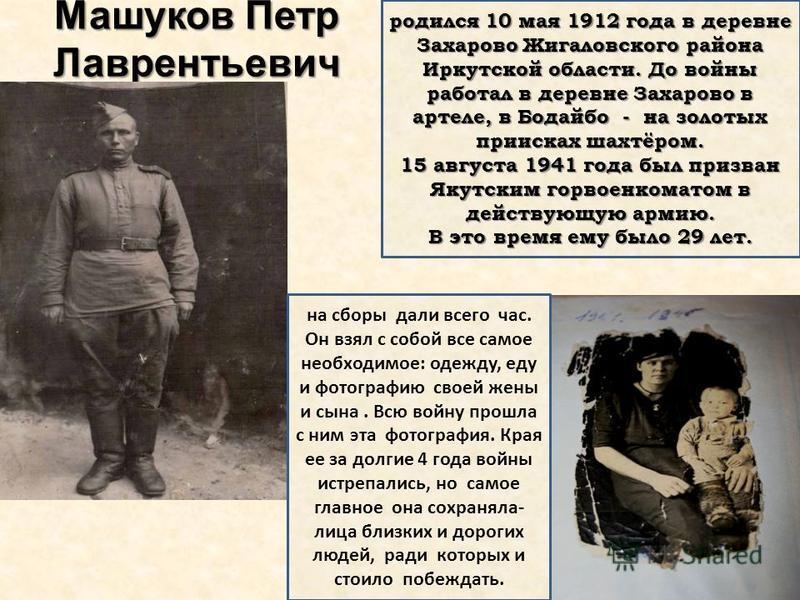Машуков Петр Лаврентьевич родился 10 мая 1912 года в деревне Захарово Жигаловского района Иркутской области. До войны работал в деревне Захарово в артели, в Бодайбо - на золотых приисках шахтёром. 15 августа 1941 года был призван Якутским гор военком
