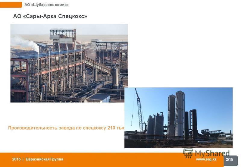 2/15 www.erg.kz 2015 | Евразийская Группа АО «Шубарколь комир» АО «Сары-Арка Спецкокс» Производительность завода по спецкоксу 210 тыс. тонн