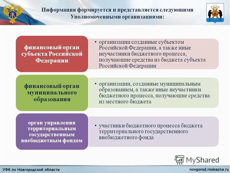 Информация формируется и представляется следующими Уполномоченными организациями: организации созданные субъектом Российской Федерации, а также иные не участники бюджетного процесса, получающие средства из бюджета субъекта Российской Федерации финанс
